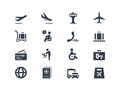 Airport icons isolated on white Royalty Free Stock Photography