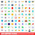 100 airport icons set, cartoon style