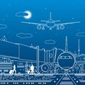 Airport illustration. Passengers go to the airplane. Aviation travel transportation infrastructure. The plane is on the runway. Ni Royalty Free Stock Photo