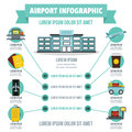 Airport infographic concept, flat style