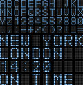 Airport led display board illustration featuring font letters and numbers of a digital usable for schedules train timetables etc Stock Image