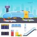Airport, neighborhood, city street, taxi, loader, passenger terminal, waiting room. Royalty Free Stock Photo