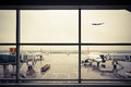 Airport outside the window scene Royalty Free Stock Photos