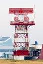 Airport radar communication tower horizontal Royalty Free Stock Photo