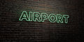 AIRPORT -Realistic Neon Sign on Brick Wall background - 3D rendered royalty free stock image Royalty Free Stock Photo