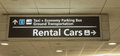 Airport rental cars transportation sign an for passengers leaving terminal Royalty Free Stock Photos