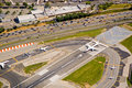 Airport runway airplanes Stock Photos