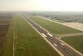 Airport runway in timisuara romania and airplane aerial view Royalty Free Stock Images