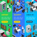 Airport Security Check-In Banner Vecrtical Set Isometric View. Vector