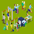Airport Security Checkpoint with a Queue of Isometric People with Baggage