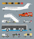 Airport set with baggage cart infographic business jet passenger bus and carts in cmyk Royalty Free Stock Photo
