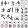 Airport shopping mall icons set vector gray on white background Royalty Free Stock Photo