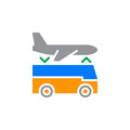 Airport shuttle transfer service icon vector, filled flat sign, solid colorful pictogram isolated on white.