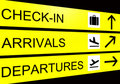 Airport sign, arrivals, departure, check in Stock Photo