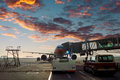 Airport tarmac the local features Royalty Free Stock Photo