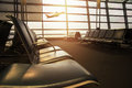 Airport Terminal with empty chair and bursting light, Airplane B Royalty Free Stock Photo
