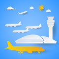 Airport Terminal with Planes. Cut Paper