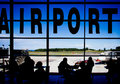 Airport terminal silhouettes in an Stock Photo