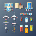 Airport Transport And Facilities Elements Collection Royalty Free Stock Photo