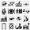 Airport and transportation icons vector icon set Royalty Free Stock Photos