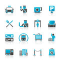 Airport travel transportation icons vector icon set Stock Images