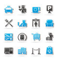 Airport travel and transportation icons vector icon set Royalty Free Stock Photo