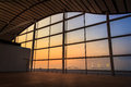 Airport viewpoint window with sunset Royalty Free Stock Photos