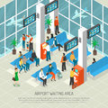 Airport Waiting Area Isometric Illustration Royalty Free Stock Photo
