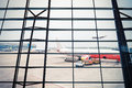 Airport window scene Royalty Free Stock Photo