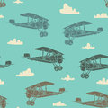 Airs seamless pattern hand drawn vintage aircrafts in the sky and clouds Royalty Free Stock Photos