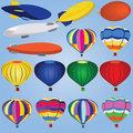 Airship And Balloon Icons Royalty Free Stock Images