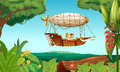 An airship flying with two young girls illustration of Stock Photo