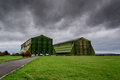 Airship hanger at cardington uk used to house the r hydrogen a military style large green building with a gloomy sky Royalty Free Stock Photo
