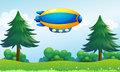 An airship near the hilltop illustration of Royalty Free Stock Images