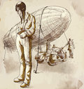 Airship pilot vintage picture from the series world between waits before his machine hand drawing converted into vector layers Royalty Free Stock Images