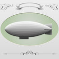 Airship retro style picture frame and in green background Stock Images