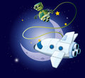 An airship and a robot in the outerspace illustration of Stock Images