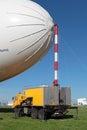 Airship zhukovsky russia aug maintenance multipurpose au rosaerosystems company at the international aviation and space salon maks Royalty Free Stock Image