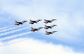 Airshow army jets flying at in new jersey Royalty Free Stock Photos