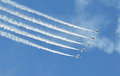 Airshow army jets flying at in new jersey Stock Images