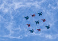 Airshow group pilotage of the russian aerobatic teams at the during the victory day parade moscow russian federation may Stock Photos