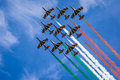 Airshow the italian acrobatic jet squad named frecce tricolori doing tricks in the sky Stock Photo