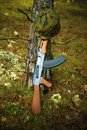 AirSoft gun and helmet