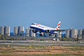 Airtravel a british airways flight from london about to touch down at spain s alicante airport Stock Photo