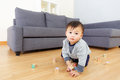 Aisa baby boy play toy block at home Royalty Free Stock Photos