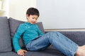 Aisa little boy play tablet at home Royalty Free Stock Image