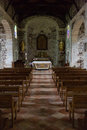 Aisle of an old church Royalty Free Stock Photo