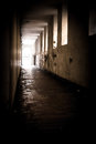 Aisle a passage dimly lit dirty and not very reassuring Royalty Free Stock Photo