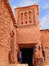 Ait ben haddou kasbah morocco ouarzazate district detail of a tower with berber geometrical symbols unesco world heritage site Royalty Free Stock Photos