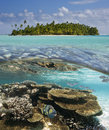 Aitutaki lagoon cook islands south pacific tropical of in the in the Stock Photography